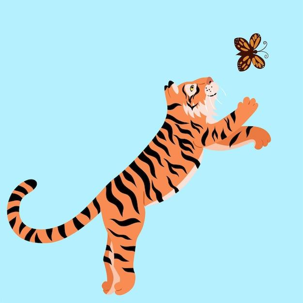 Ein tiger spielt mit einem schmetterling. Premium Vektoren
