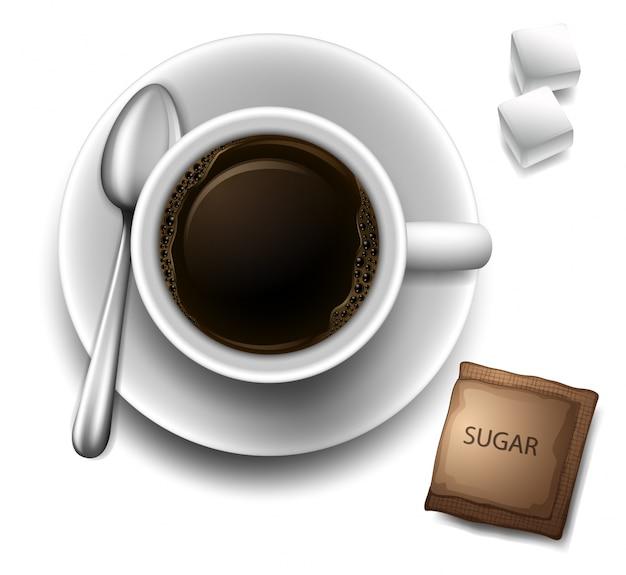 Ein topview einer tasse mit einem kaffee