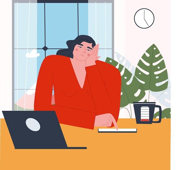 Ein trauriges müdes mädchen sitzt am tisch am fenster heimbüro mit einem laptop flacher vektor