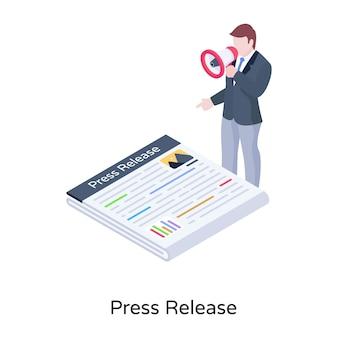 Ein trendiger illustrations-newsletter im isometrischen design