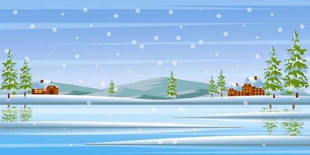 Ein trendiges design mit verschneitem hintergrund