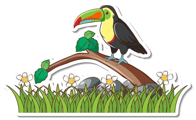 Ein tukanvogel, der auf einem zweigaufkleber steht