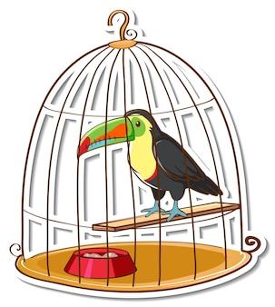 Ein tukanvogel in einem käfigaufkleber