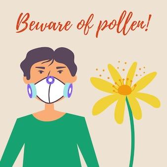 Ein typ in einer schutzmaske leidet an allergien