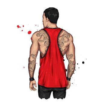 Ein typ mit einer sportfigur und einem stylischen t-shirt