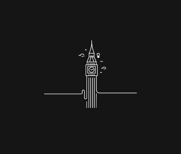 Ein uhrturm von hand gezeichnet, big ben london - umriss für design-vektor-illustration