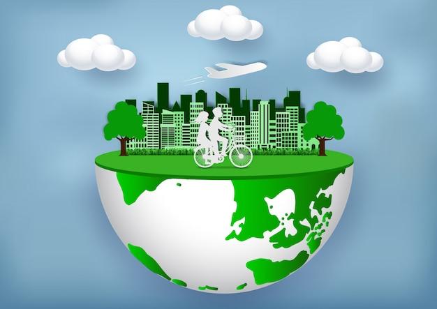 Ein umweltfreundliches umweltfreundliches konzept schließt sich der umwelt an, um die globale erwärmung zu reduzieren