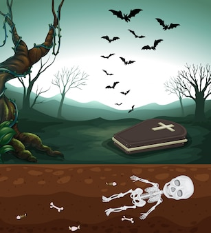 Ein unheimlicher friedhof und ein skelett