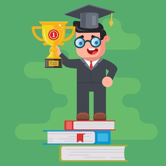Ein universitätsabsolvent hält einen preisgekrönten goldpokal und steht auf dem podium der bücher. sieg im intellektuellen wettbewerb. flacher charakter