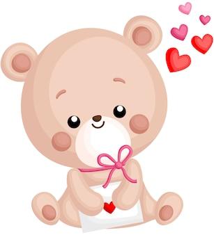 Ein vektor des netten kleinen bären, der liebesbrief hält