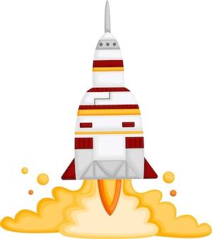 Ein vektor einer rakete, die in den weltraum fliegt