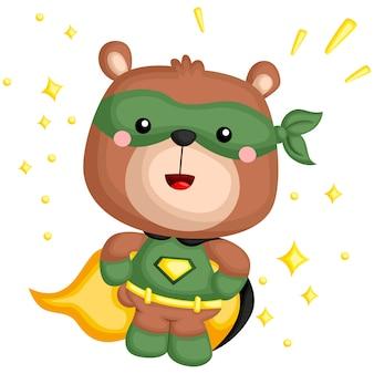 Ein vektor eines bären in einem superheld-kostüm
