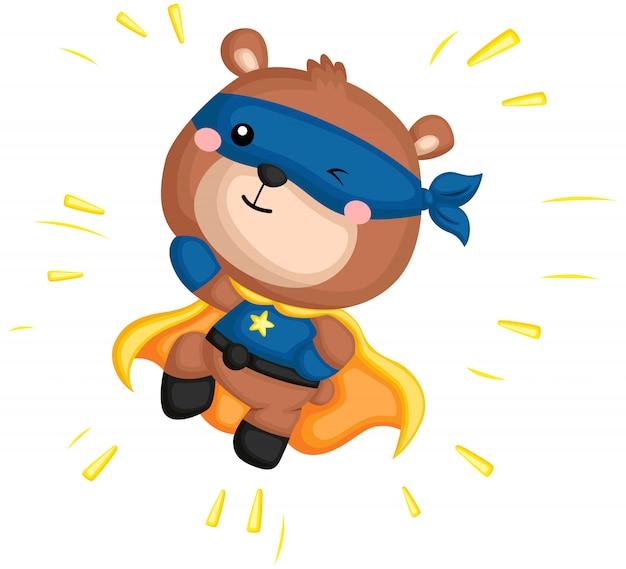 Ein vektor eines bären in einem superheldkostüm
