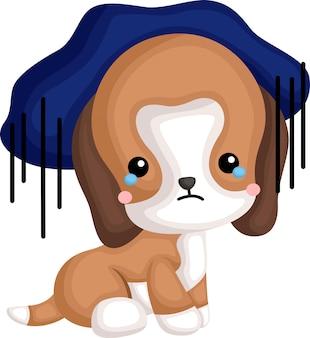 Ein vektor eines niedlichen beagle, der sich blau fühlt