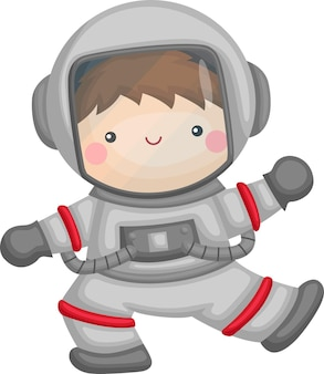 Ein vektor eines niedlichen kindes mit einem astronautenanzug