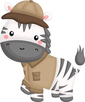 Ein vektor eines zebras im safari-ranger-kostüm