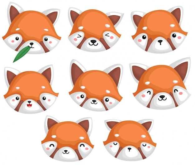 Ein vektor vieler roter pandas in vielen ausdrücken
