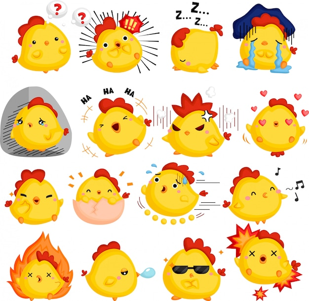 Ein vektor von hühnern voller emotionen