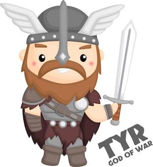 Ein vektor von tyr aus der nordischen mythologie