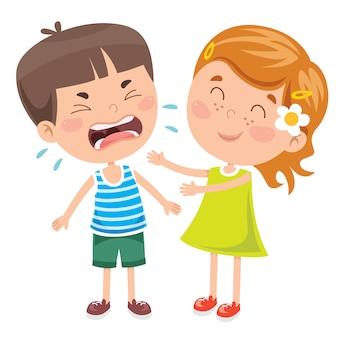 Ein verärgertes kleines kind, das weint