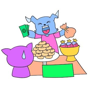 Ein verkäufer auf dem markt verkauft kuchen, um das fasten zu brechen, vektorgrafiken. doodle symbolbild kawaii.