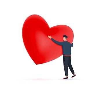 Ein verliebter mann umarmt am valentinstag ein großes rotes herz.