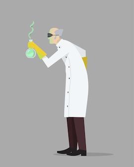 Ein verrückter verrückter wissenschaftler in seinem labor, der an geheimen formeln experimentiert