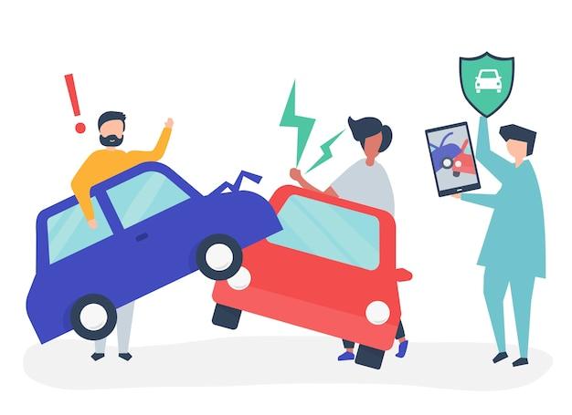 Ein versicherungsagent, der einen autounfall auflöst