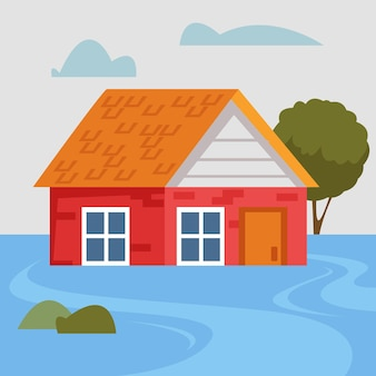 Ein versunkenes privates backsteinhaus während einer naturkatastrophe und einer flut