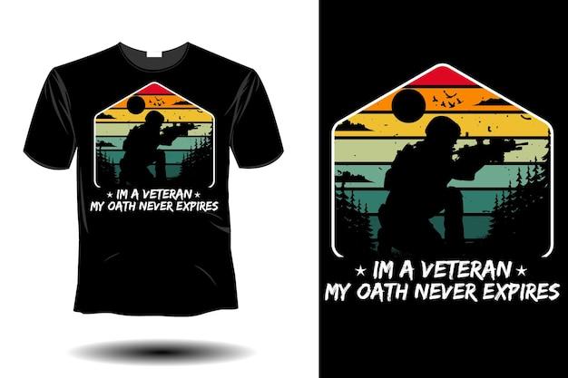 Ein veteran, mein eid läuft nie ab mockup retro-vintage-design