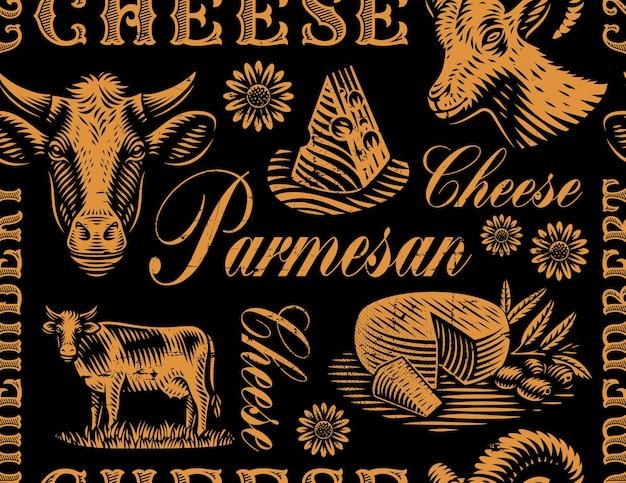 Ein vintage nahtloser hintergrund für ein käsethema
