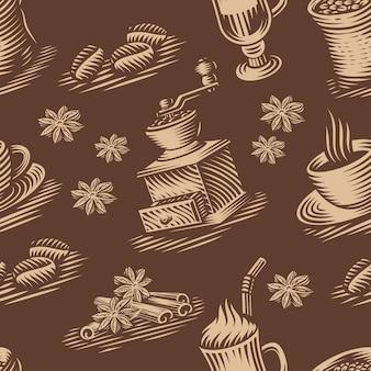 Ein vintage nahtloser hintergrund für ein kaffeethema