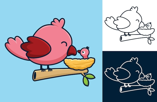 Ein vogel sitzt auf ästen mit seinem baby im nest. vektorkarikaturillustration in der flachen ikonenart