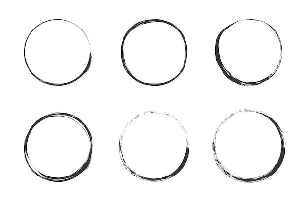 Ein von einem pinsel gezeichneter kreis vektor-doodle-rahmen für design verwenden grunge-kreise