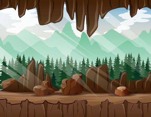 Ein waldblick aus dem inneren der höhle