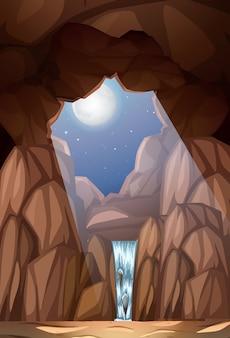 Ein wasserfall in der höhle