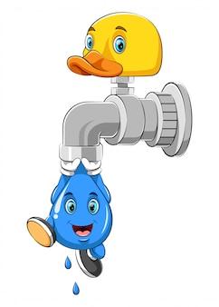 Ein wassertropfen hängt an einem wasserhahn