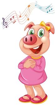 Ein weiblicher charakter des schweins