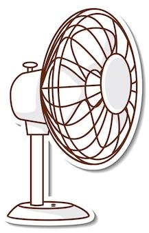 Ein weißer elektrischer ventilatoraufkleber auf weißem hintergrund