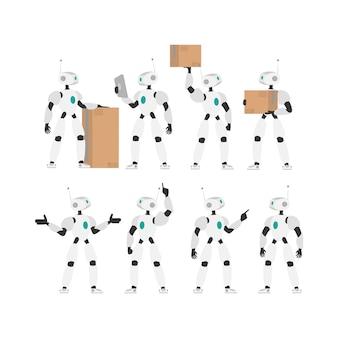 Ein weißer roboter hält eine kiste. reihe von futuristischen robotern.