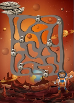 Ein weltraum-labyrinth-puzzle-spiel