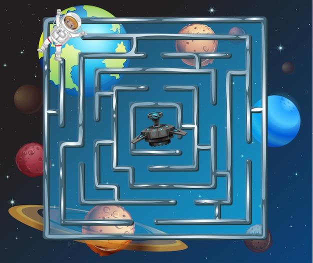 Ein weltraumpuzzle labyrinth-spiel