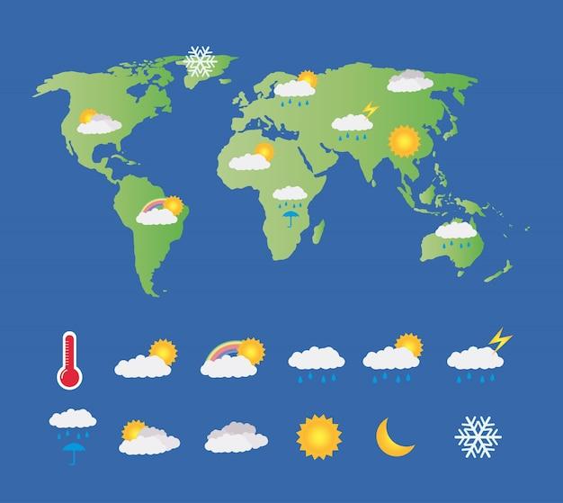 Ein Wetter Icon Set Mit Weltkarte Premium Vektor