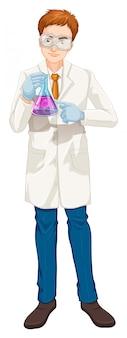 Ein wissenschaftler, der laborbecher hält