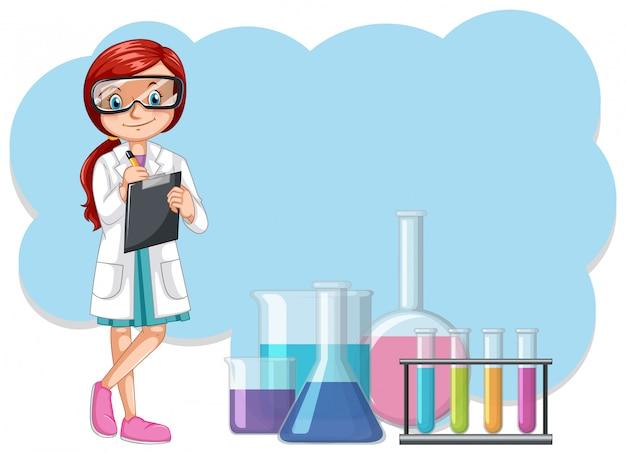 Ein wissenschaftler und laborausrüstungen