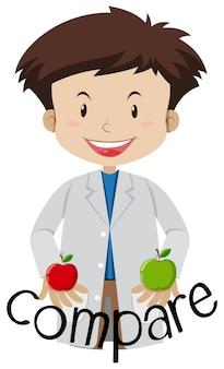 Ein wissenschaftler vergleichen zwischen zwei äpfeln