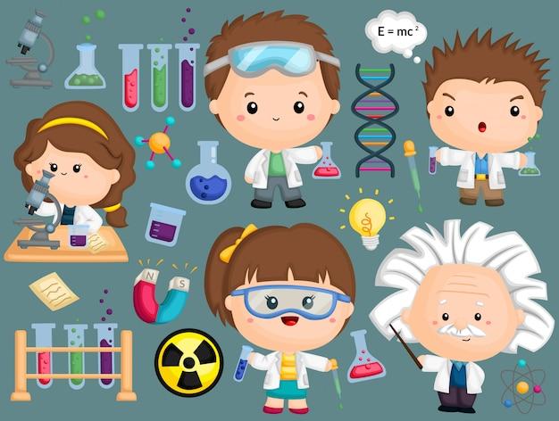 Ein wissenschaftlerbild mit vielen objekten festgelegt