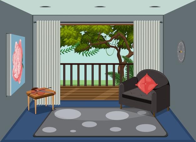 Ein wohnzimmer mit blick auf die natur