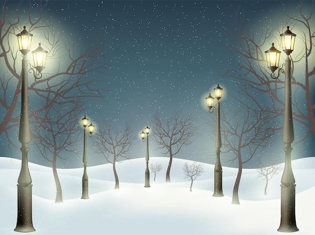 Ein wunderbarer hintergrund von laternenpfählen, bäumen und schnee. vektor-illustration