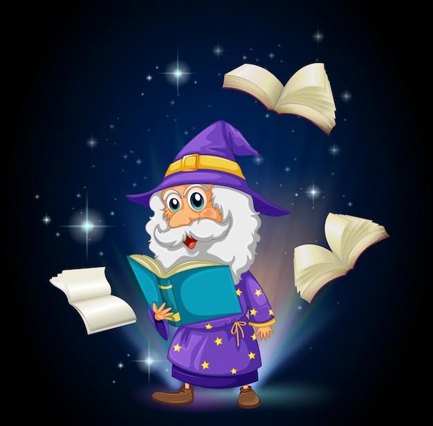 Ein zauberer mit vielen büchern